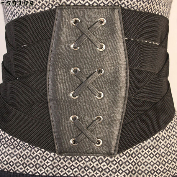 Women Elastic Wide Band Waspie PU Leather Corset Waist Cincher Belt CC2002